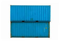 Blue cargo container. Against a white background Stock Photos