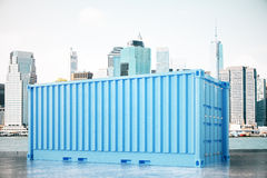 Blue cargo container in city Royalty Free Stock Photos