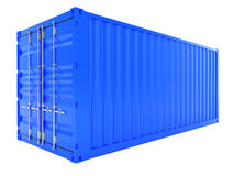Blue cargo container. 3d render of blue cargo container isolated on white background Royalty Free Stock Photos