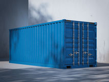 Blue cargo container. 3d rendering. Blue cargo container in the port. 3d rendering Stock Images