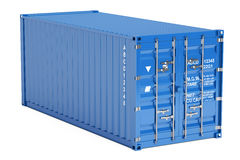 Blue cargo container, 3D rendering. On white background Royalty Free Stock Photos