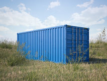 Blue cargo container in a field. 3d rendering. Blue cargo container in a field with green grass. 3d rendering Stock Images