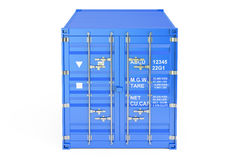 Blue cargo container, front view. 3D rendering. On white background Stock Images