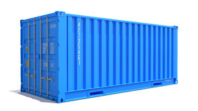Blue Cargo Container Isolated on White. Stock Images