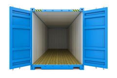 Blue cargo container with open doors. On white background 3d Stock Photography