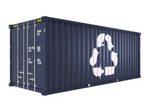 Blue cargo container with recycle mark. Isolated on white background Stock Photos