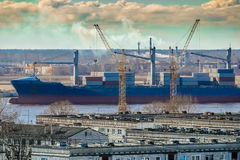 Blue cargo container ship Royalty Free Stock Image