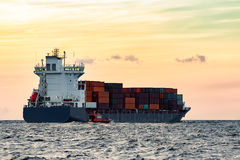Blue cargo container ship Stock Images