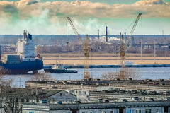 Blue cargo container ship Royalty Free Stock Photography