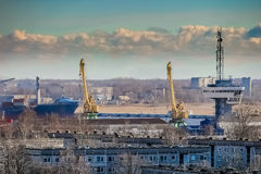 Blue cargo container ship. Moving past the Riga city Royalty Free Stock Photography