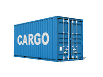 Blue cargo container with text label isolated on white backgroun Stock Photo
