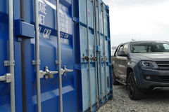 Blue cargo container. Blue cargo transport sea container Royalty Free Stock Image
