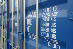Blue cargo container. Blue cargo transport sea container Stock Images