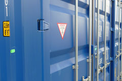 Blue cargo container. Blue cargo transport sea container Royalty Free Stock Images