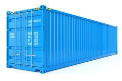 Blue cargo container. On white background 3d Royalty Free Stock Photo