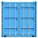 Blue cargo container on white background. 3D rendering. Blue cargo container on white background. 3D illustration Stock Photography