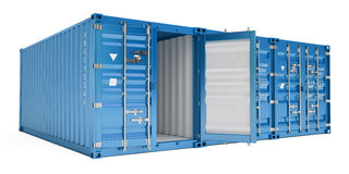 Blue cargo containers, 3D rendering. On white background Royalty Free Stock Photos