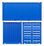 Blue cargo freight container from different sides. Isolated on white background. 3d illustration Royalty Free Stock Photography