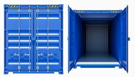 Blue cargo freight container, opened and closed. Isolated on white background. 3d illustration Stock Photo