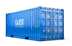 Blue cargo freight shipping container isolated on white background Stock Photography