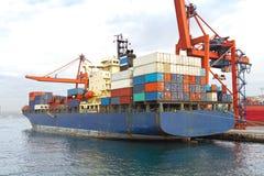 Blue cargo ship Royalty Free Stock Photography