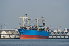 Blue cargo ship Royalty Free Stock Photography