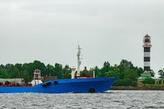 Blue cargo tanker ship. Moving to the Baltic sea Royalty Free Stock Image