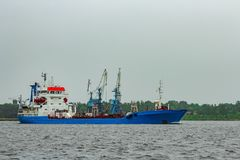 Blue cargo tanker ship. Moving to the Baltic sea Royalty Free Stock Photos