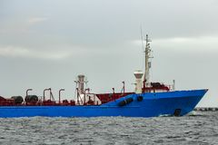 Blue cargo tanker ship. Moving to the Baltic sea Stock Image