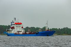 Blue cargo tanker ship. Moving to the Baltic sea Stock Photography