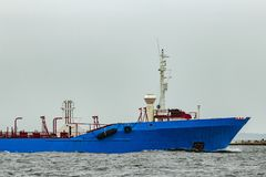 Blue cargo tanker ship. Moving to the Baltic sea Royalty Free Stock Photo