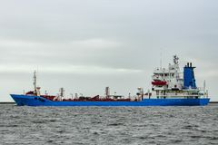 Blue cargo tanker ship. Moving to the Baltic sea Stock Images