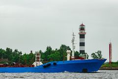 Blue cargo tanker ship. Moving to the Baltic sea Royalty Free Stock Images