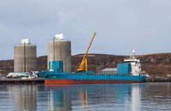 Blue Cargo Vessel Stock Photo