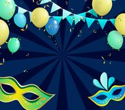 Blue carnival background with colorful masks and balloons. Blue carnival background with colorful masks, balloons and confetti. Vector illustration.r Stock Photo