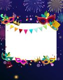 Blue carnival background with colour masks and fireworks. Blue and white carnival background with colour masks and fireworks. Vector paper illustration Royalty Free Stock Photography