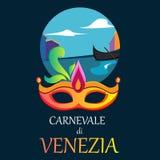 Blue carnival background with festive mask. Blue Venezia carnival background with bright festive mask. Vector illustration Stock Photography