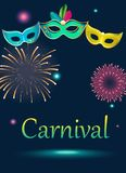 Blue carnival background with masks and fireworks. Blue carnival background with colorful festive masks and fireworks. Vector illustration Royalty Free Stock Image