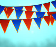 Blue Carnival Flags Background Stock Photography