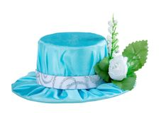 Blue carnival hat for a princess. On a white background Stock Image
