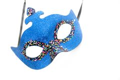 Blue carnival mask. On white Stock Photos