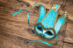Blue carnival mask harlequin. Holidays background Royalty Free Stock Images