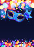 Blue carnival mask vector poster background stock illustration