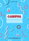 Blue carnival poster. abstract memphis 80s, 90s style retro background with place for text. Royalty Free Stock Image
