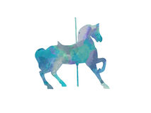 Blue Carousel Horse Silhouette Stock Images