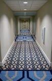 Interior Carpeted Hotel Hallway Stock Photo