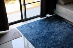 Blue carpet softness texture decoration floor interior Royalty Free Stock Photography