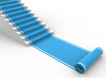Blue carpet unroling with stairs. 3d render Royalty Free Stock Photo