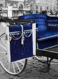 Blue carriage. Open door of the splendid blue carriage Stock Photos