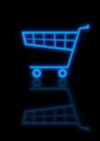 Blue Cart. An illustration of a glowing blue checkout basket / cart, isolated on black background Stock Photography